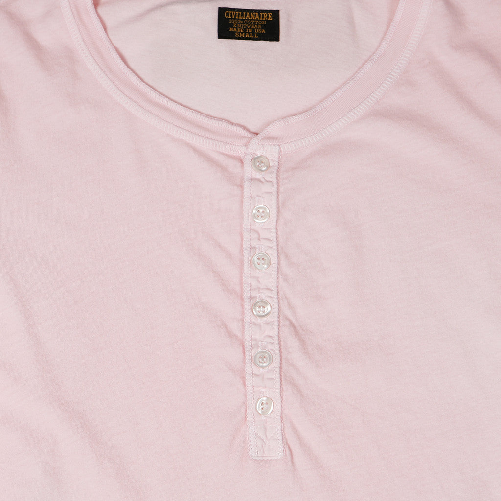 Women's Long Sleeve Ringspun Cotton Banded Henley - Barley Pink