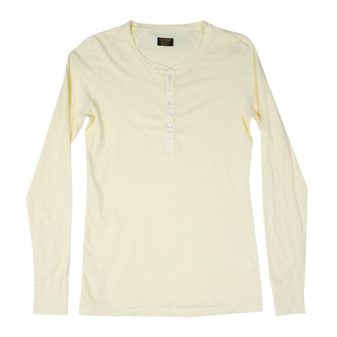 Women's Long Sleeve Ringspun Cotton Banded Henley - Lemon Yellow