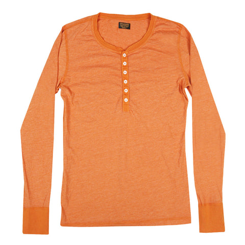 Women's Long Sleeve Tri-Blend Banded Henley - Tang