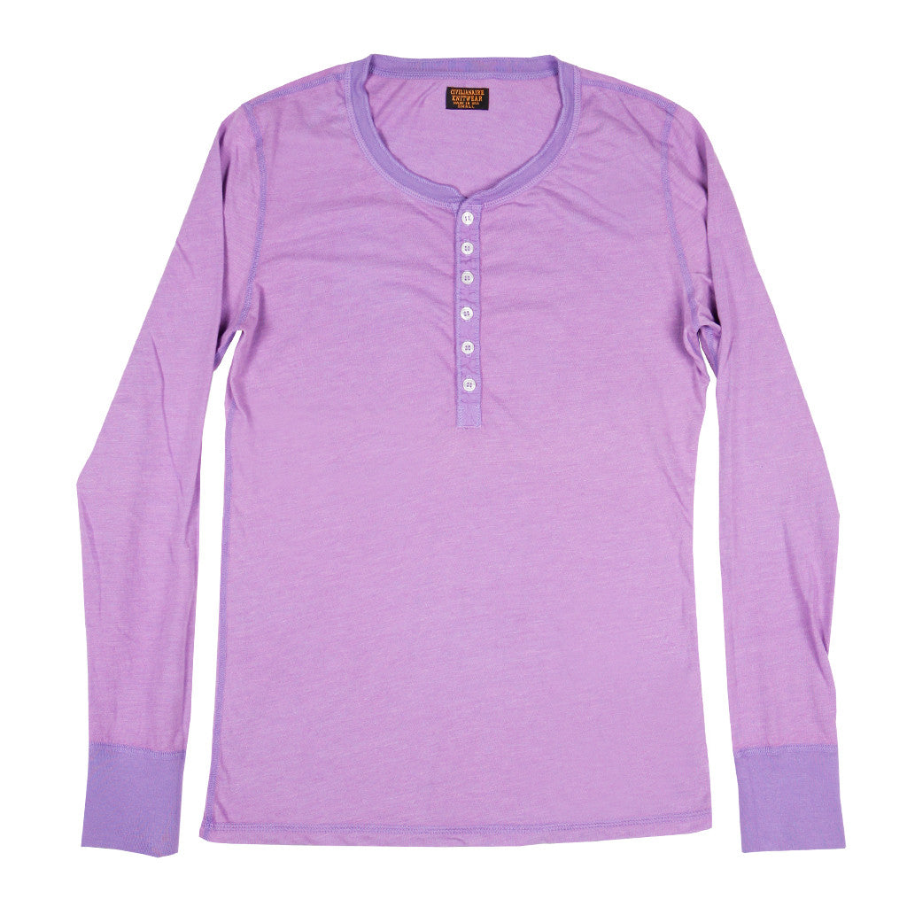 Women's Long Sleeve Tri-Blend Banded Henley - New Violet