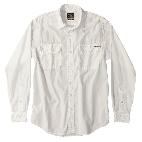 Long Sleeve 2 Pocket Notch Flap Shirt Poplin - White