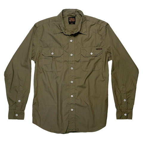 Long Sleeve 2 Pocket Notch Flap Shirt Poplin - Camouflage Green