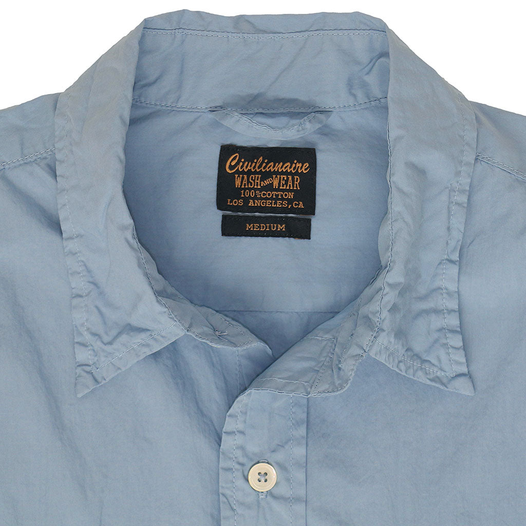 Long Sleeve 2 Pocket Notch Flap Shirt Poplin - Carolina Blue