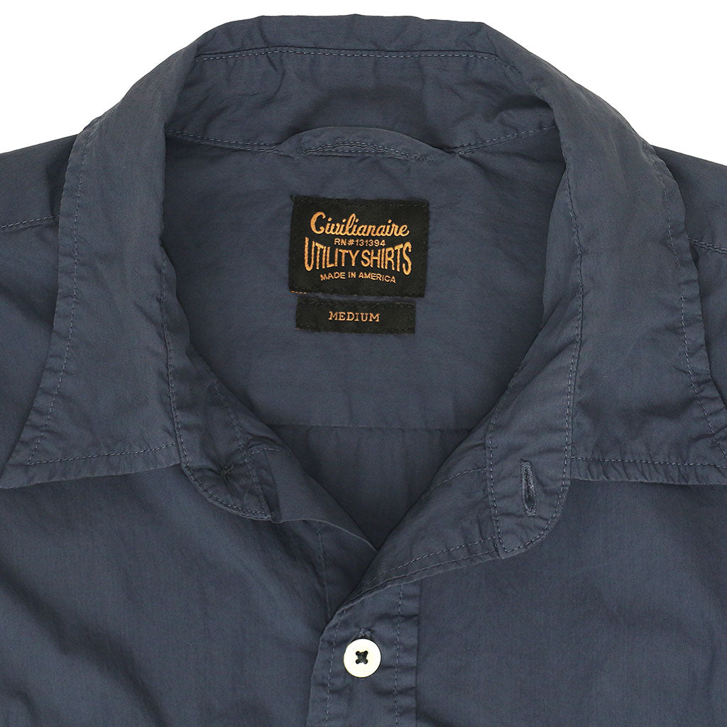 Long Sleeve 2 Pocket Notch Flap Shirt Poplin - Dark Slate Blue