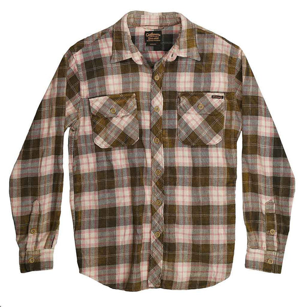 Long Sleeve Notch Flap Shirt Glastonbury Heavyweight Japanese Flannel Plaid - Black