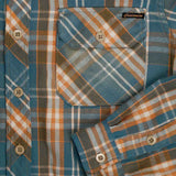 Long Sleeve Notch Flap Shirt Naugatuck Japanese Heavyweight Flannel Plaid - Orange