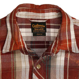 Long Sleeve Notch Flap Shirt Glastonbury Japanese Heavyweight Flannel Plaid - Burgundy