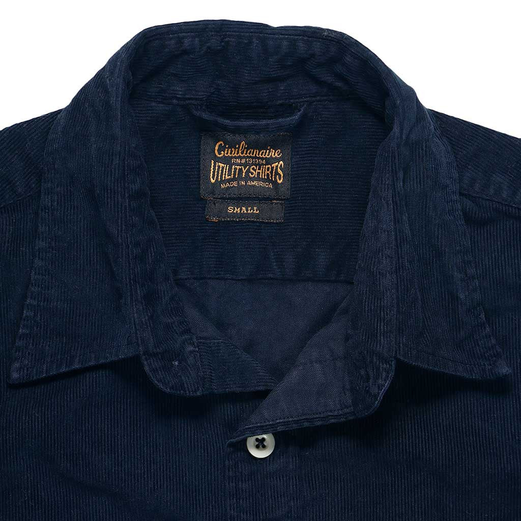 Long Sleeve Notch Flap Shirt Heavyweight Corduroy - EZ Dark Navy