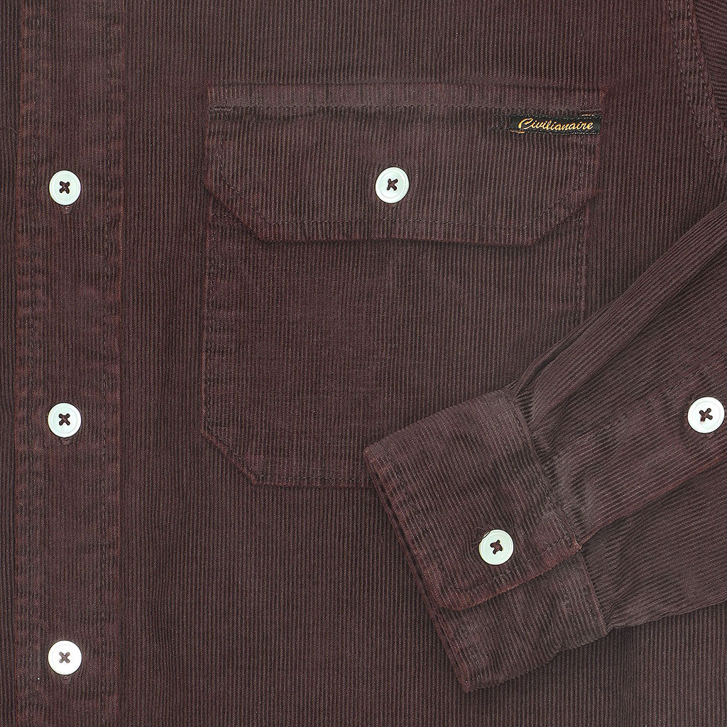 Long Sleeve Notch Flap Shirt Heavyweight Corduroy - DK BURGUNDY