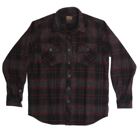 Men's Long Sleeve Gull Flap Pockets Province Plaid Wool Over Shirt - Red