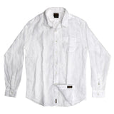 Men's Long Sleeve 1 Pocket Shirt Linen - White