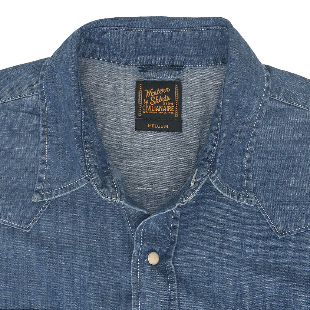 Long Sleeve Sawtooth Pocket 6.5 Denim Western Shirt - Dark Wash
