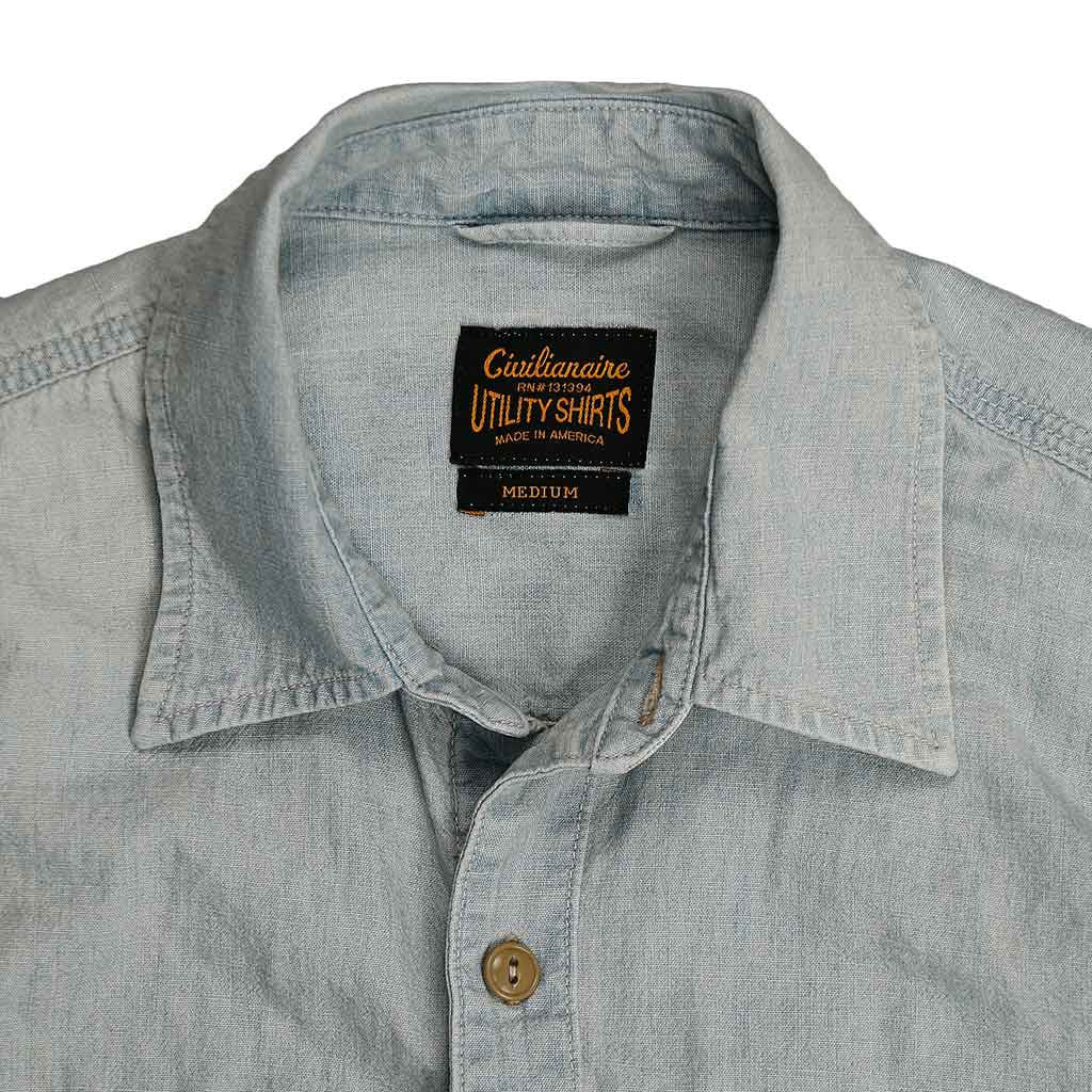Long Sleeve 2 Pocket Notch Flap Chambray Shirt - Bleached Indigo