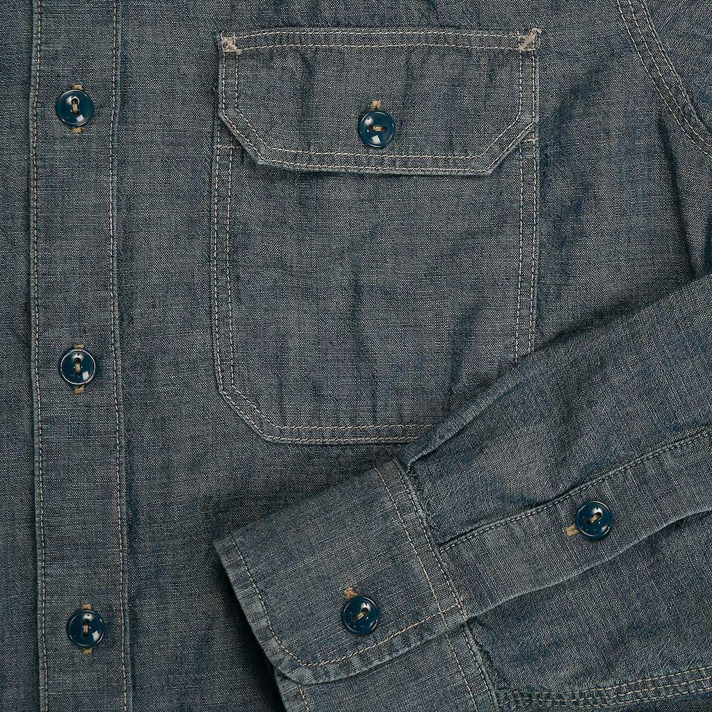 Long Sleeve 2 Pocket Notch Flap Indigo Chambray Shirt - 6 oz