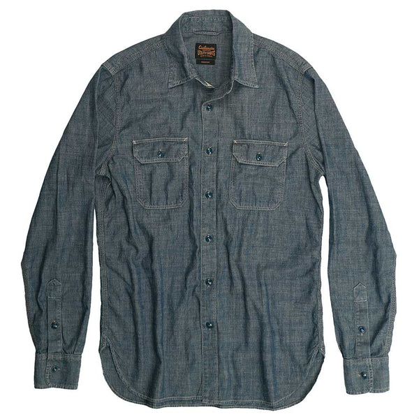 Long Sleeve 2 Pocket Notch Flap Chambray Shirt - Indigo