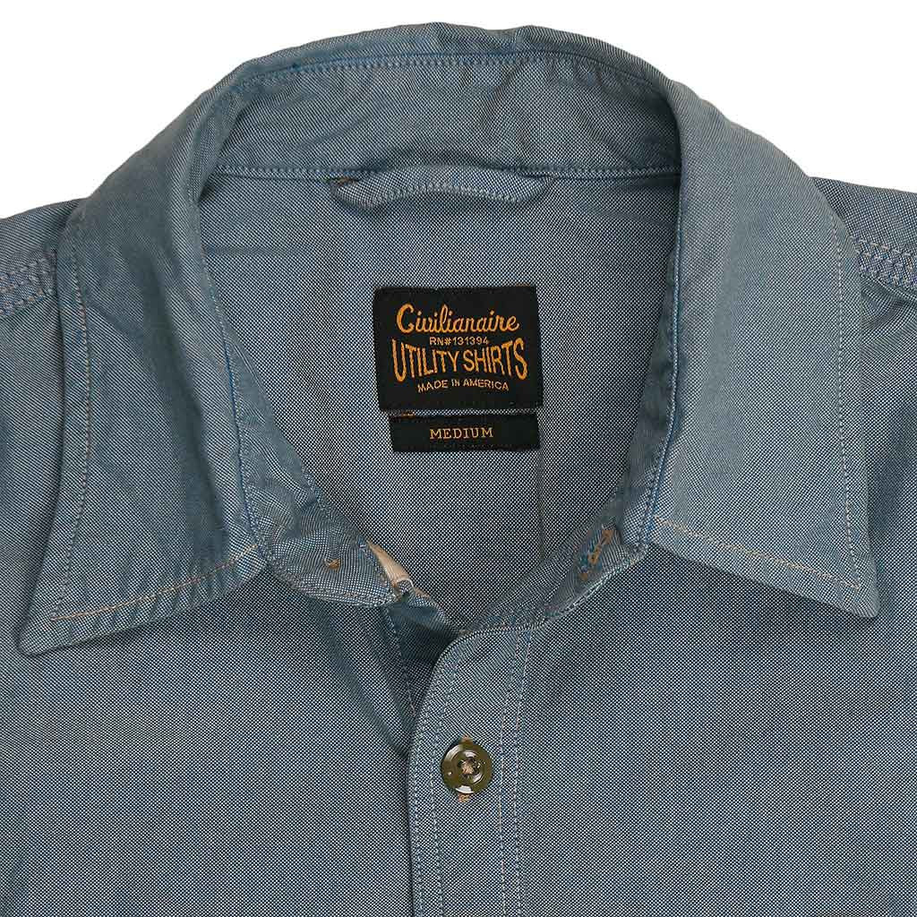 Long Sleeve 2 Pocket Notch Flap Oxford Shirt - Blue