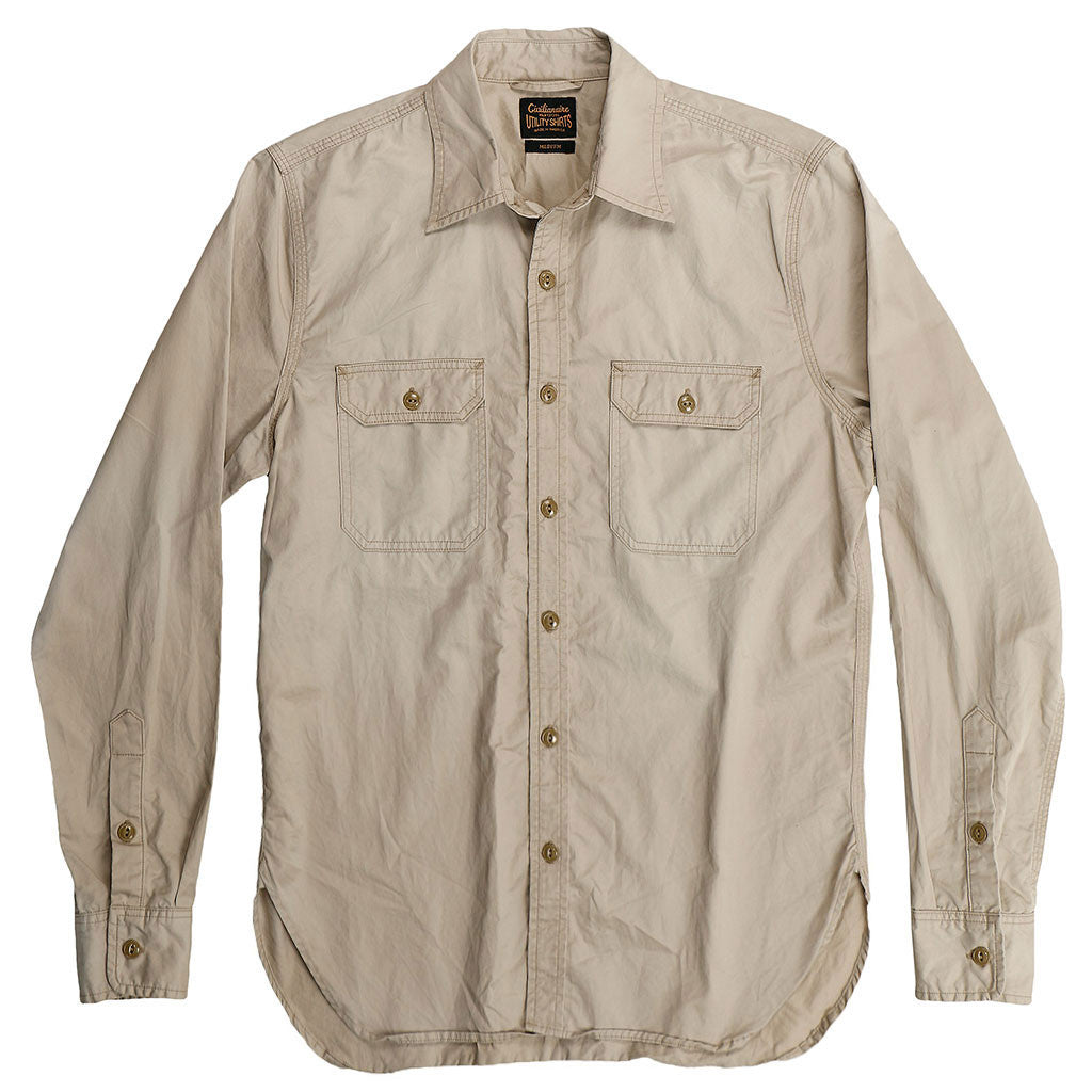 Long Sleeve 2 Pocket Notch Flap Shirt Light Twill - Khaki