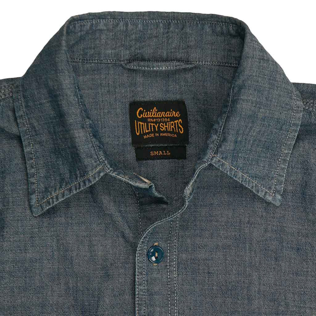 Long Sleeve 2 Pocket Chambray Workwear Shirt - Indigo