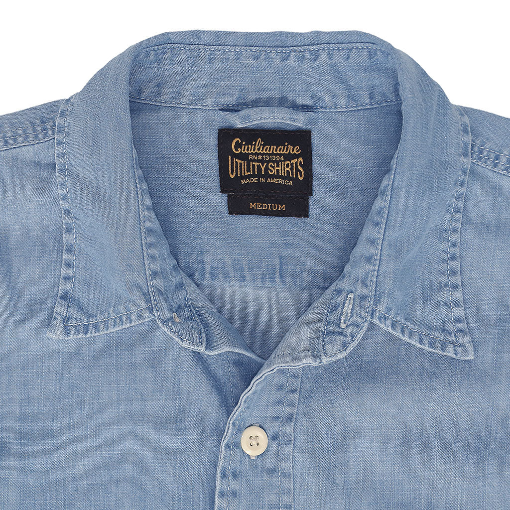 Long Sleeve Notch Flap Shirt 6 oz. Denim - Light Stone Wash