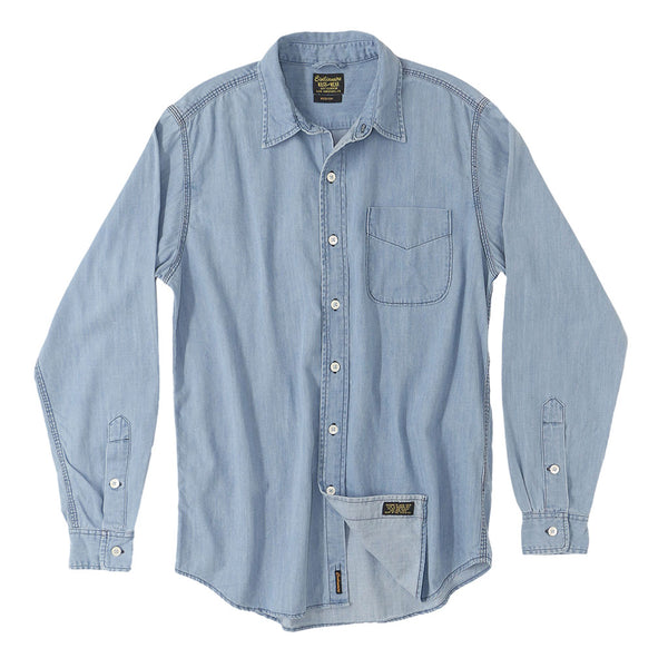 Long Sleeve 1 Pocket Shirt 6.5 oz. Denim - Light Stone Wash