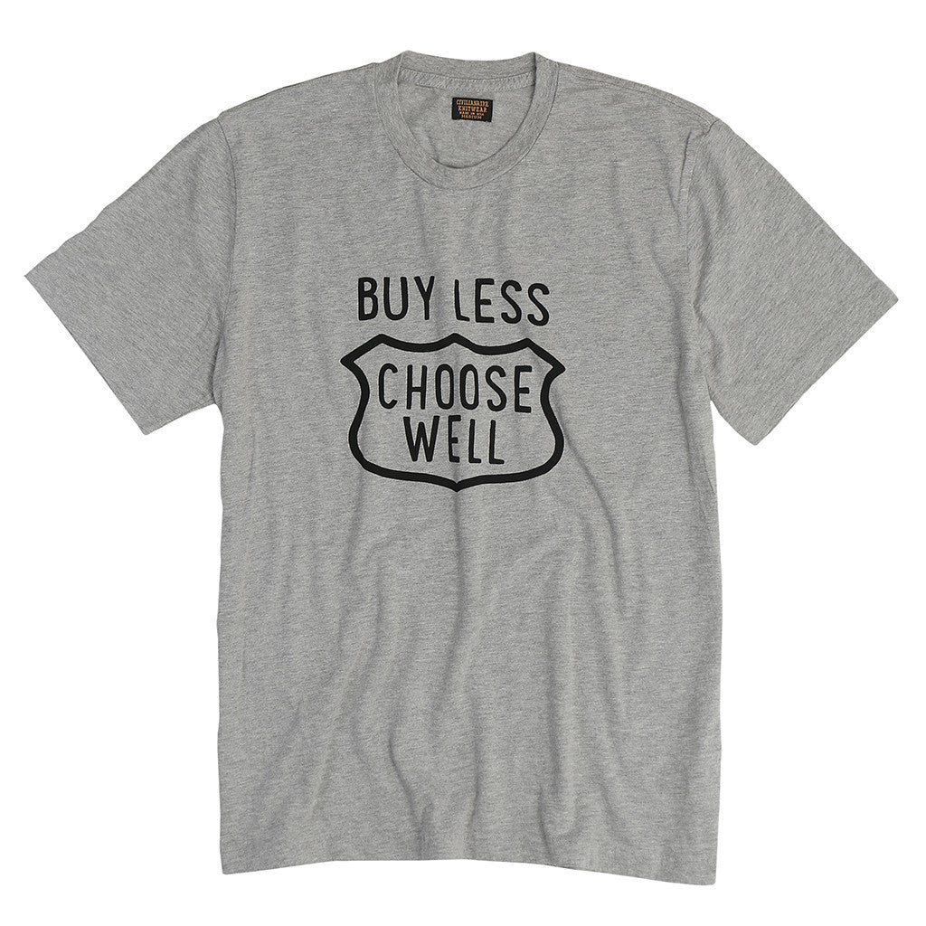 "Men's ""Buy Less, Choose Well"" Tee - Heather Grey"