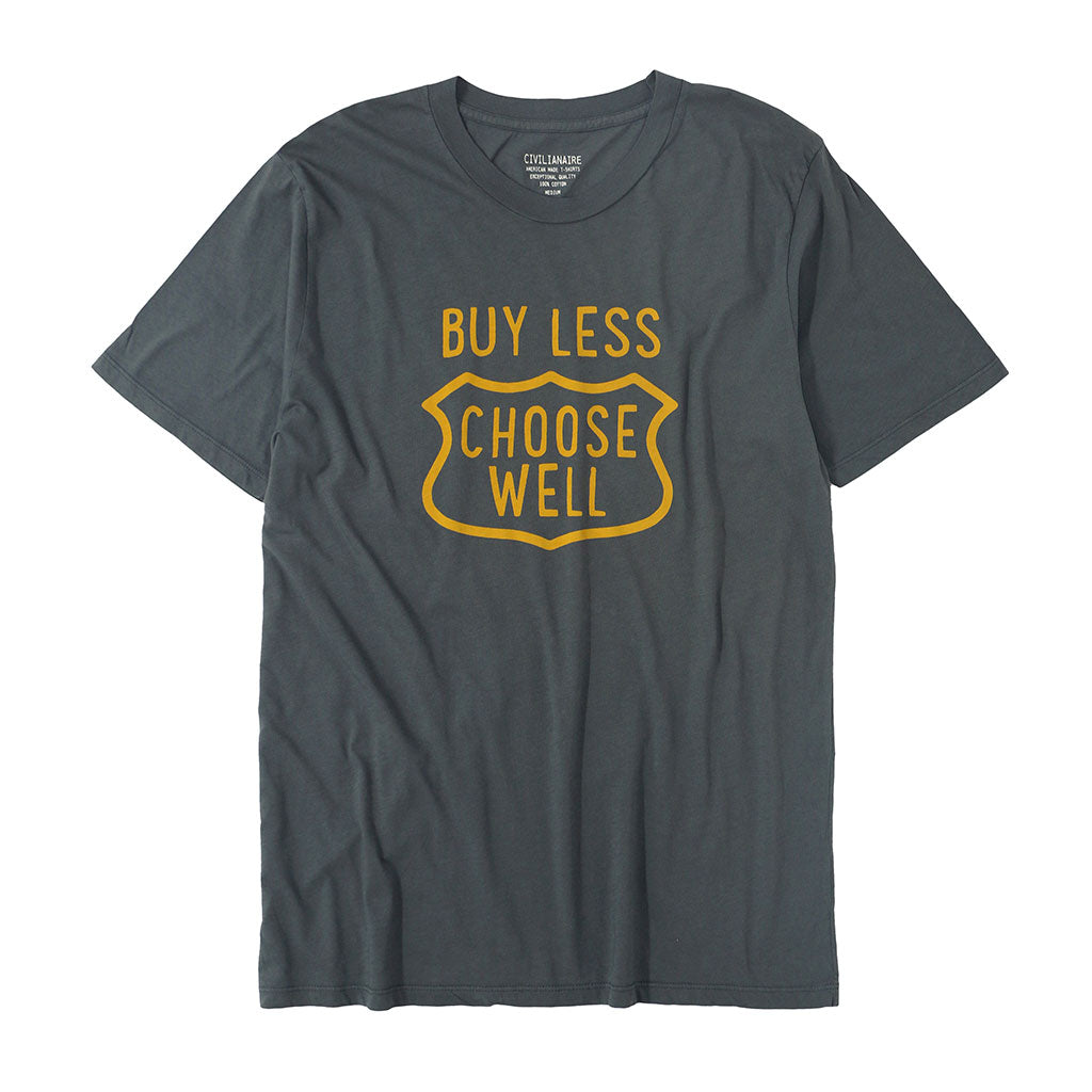 """Buy Less, Choose Well"" Short Sleeve Men's Tee - Heather Grey"
