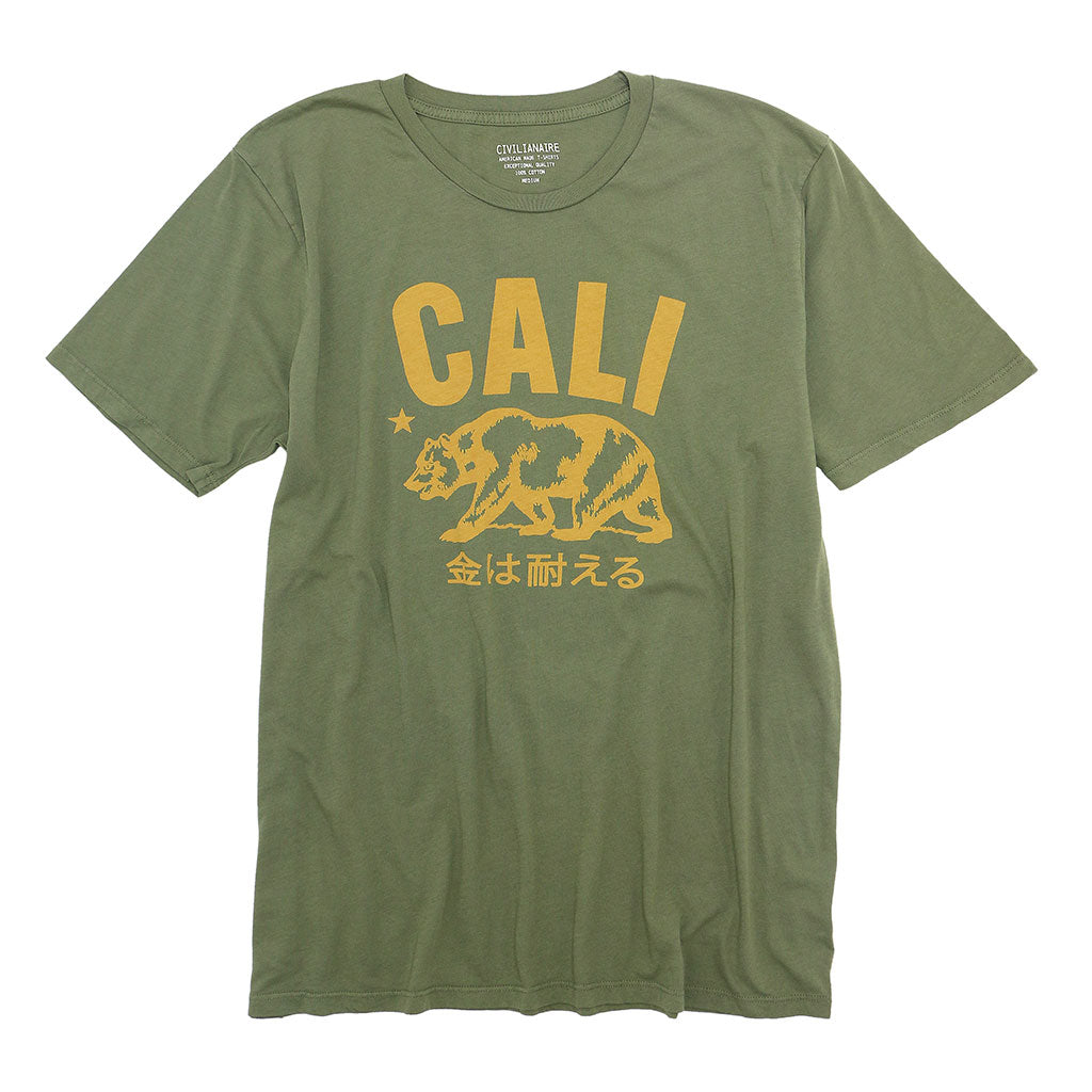 """Don't Mess with Cali"" Short Sleeve Mens Crew Neck Tee - Burnt Olive"