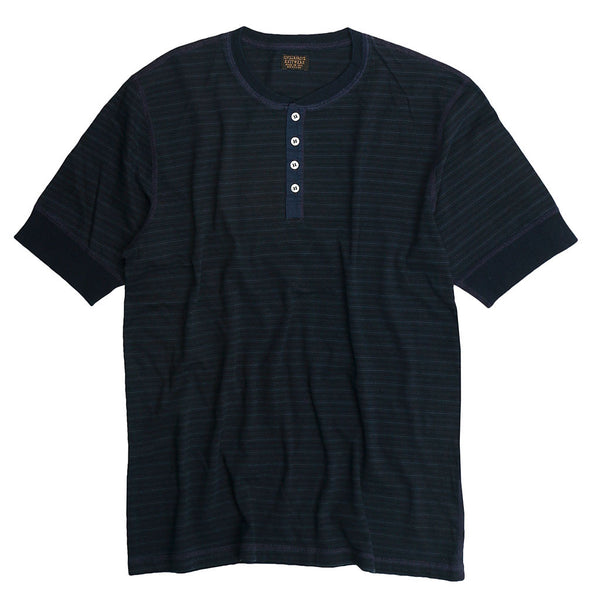 Banded Short Sleeve Feed Stripe 16 Henley - Dark Navy
