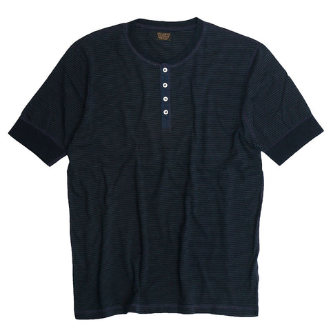 Banded Short Sleeve Feed Stripe 17 Henley - Dark Navy