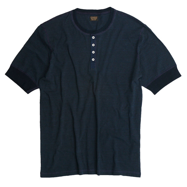 Banded Short Sleeve Feed Stripe 18 Henley - Dark Navy