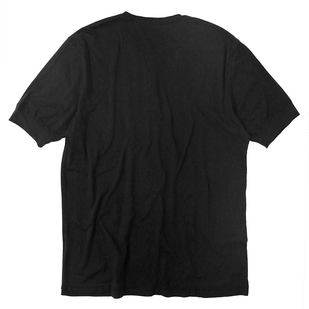 Short Sleeve Banded Henley - Cotton - Jet Black