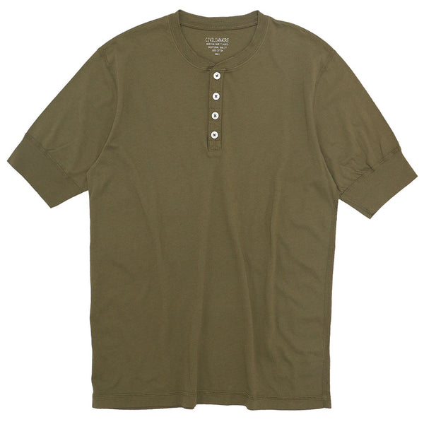 Short Sleeve Banded Henley - Cotton - VINTAGE KHAKI