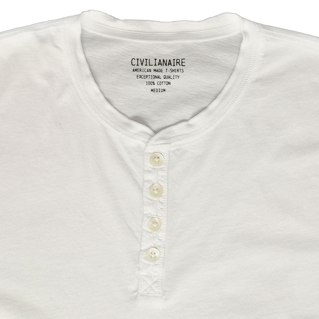 Short Sleeve Banded Henley - Cotton - Optic White