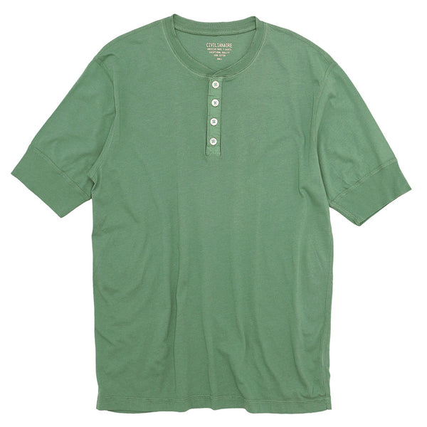 Sleeve Banded Henley - Cotton - SAGE LEAVES