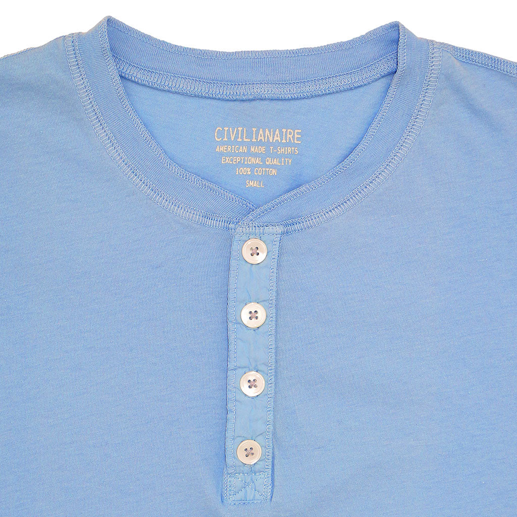 Short Sleeve Banded Henley - Cotton - POWDER BLUE