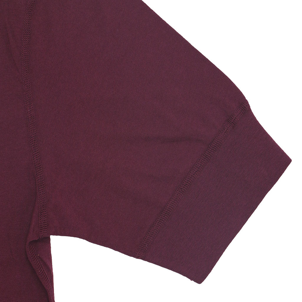 Sleeve Banded Henley - Cotton - BUCKLE POMEGRANATE