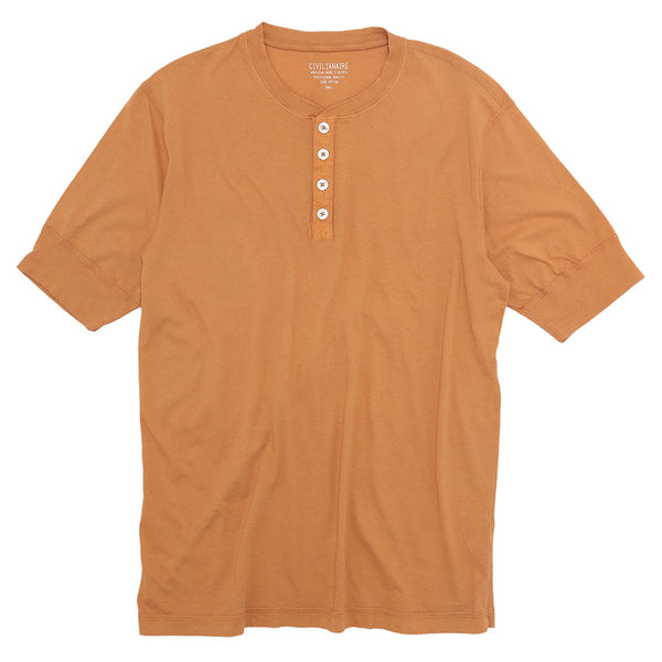 Sleeve Banded Henley - Cotton - BURNT ORANGE