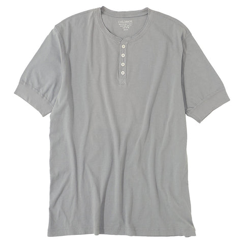 Short Sleeve Banded Henley - Cotton - Smokey Grey