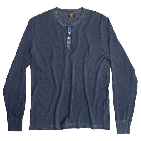 Long Sleeve Slub Cotton Banded Henley - Indigo Pigment