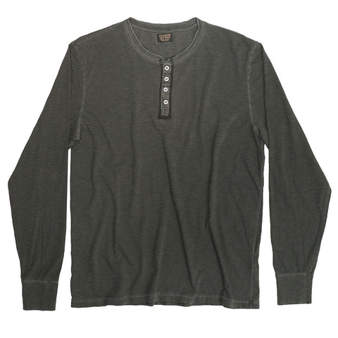 Long Sleeve Slub Cotton Banded Henley - Black Pigment