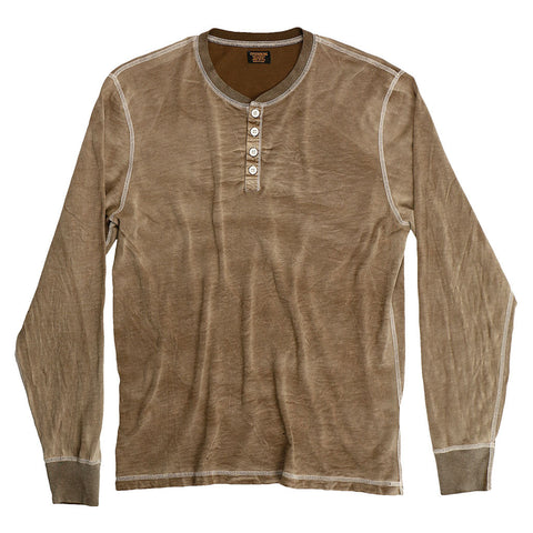 Long Sleeve Slub Cotton Banded Henley - Earth