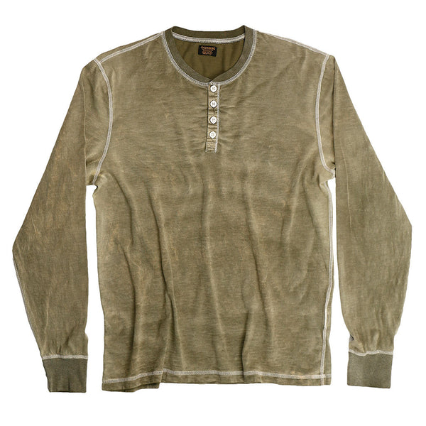 Long Sleeve Slub Cotton Banded Henley - Safari