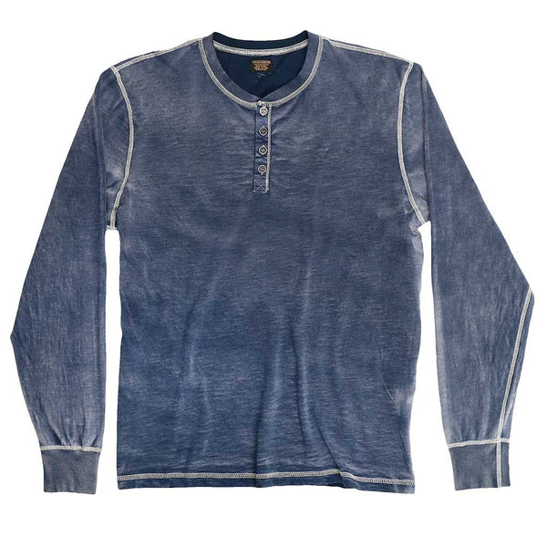 Long Sleeve Slub Cotton Banded Henley - Inky