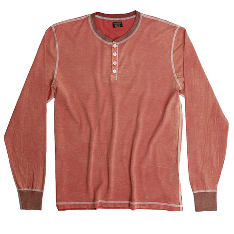 Long Sleeve Slub Cotton Banded Henley - Berry Red