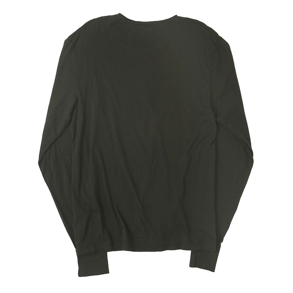 Long Sleeve Banded Henley - Cotton - BLACK