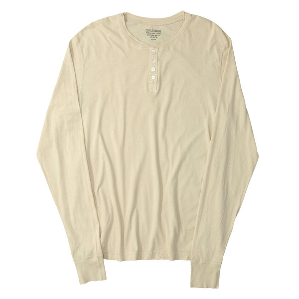 Long Sleeve Banded Henley - Cotton - ASH