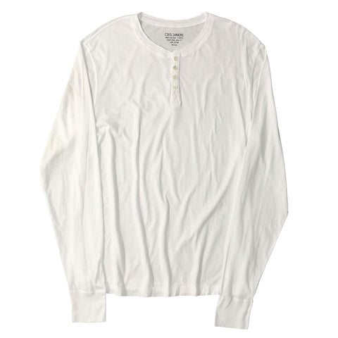 Long Sleeve Banded Henley - Cotton - OPTIC WHITE