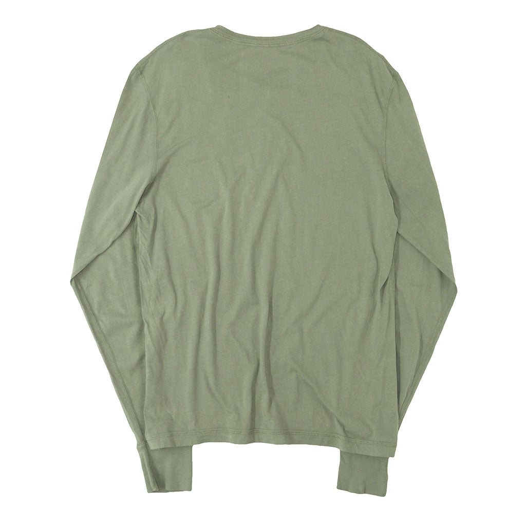 Long Sleeve Cotton Banded Henley - BOTTLE GREEN