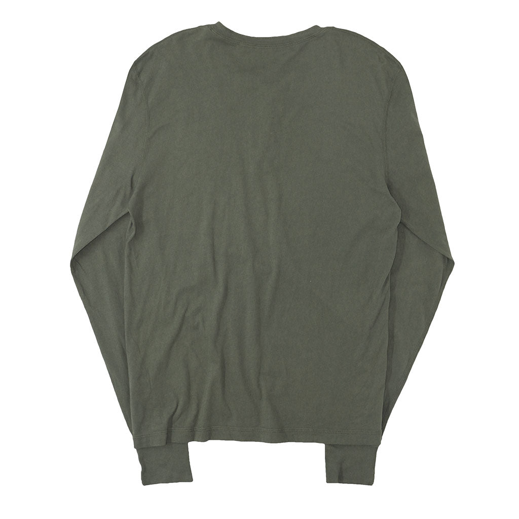 Long Sleeve Cotton Banded Henley - GRAPE OLIVE