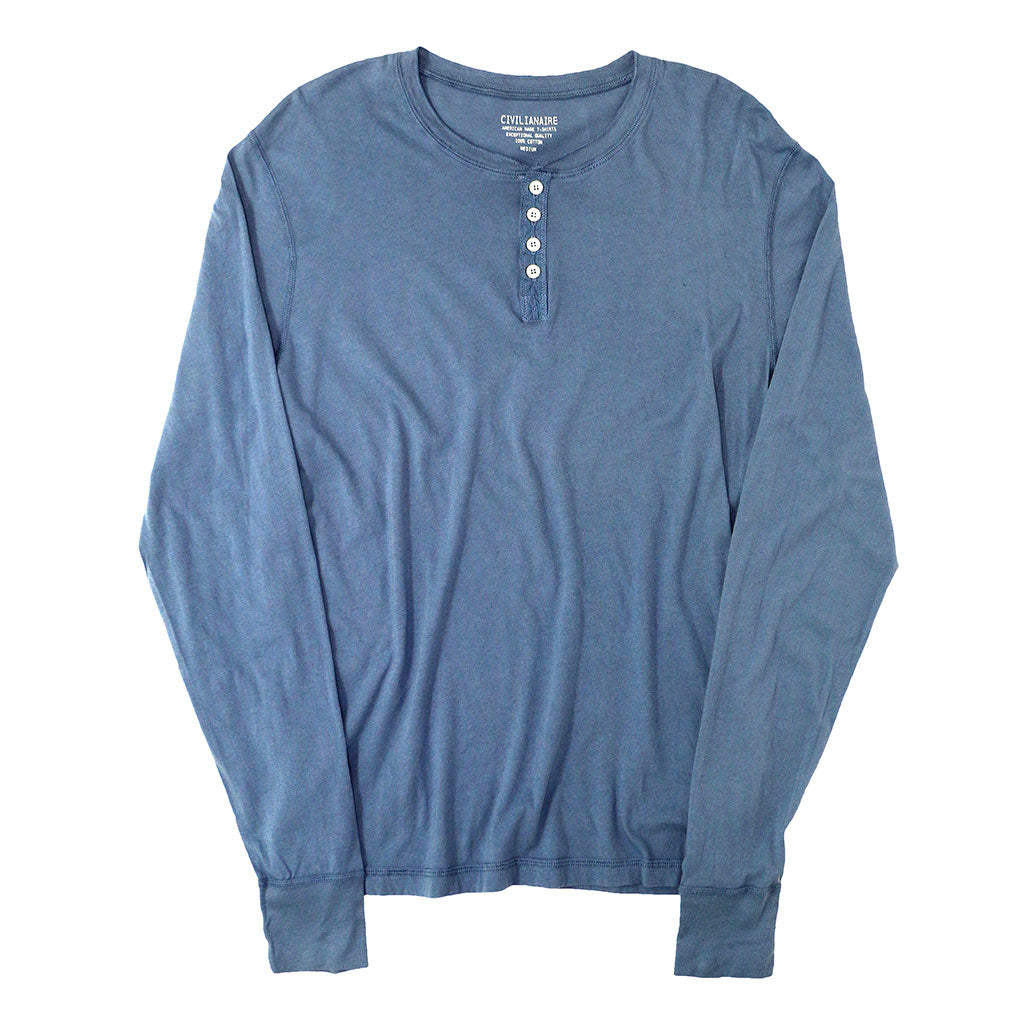 Long Sleeve Cotton Banded Henley - YALE BLUE